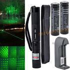 Green Laser Pointer Pen 532nm Adjust Focus 5mw Holster+2x6000mAh Battery+Charger