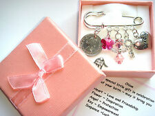 NEW BABY GIRL BIRTH GIFT SWAROVSKI ELEMENT Lucky Sixpence Personalised gift Box