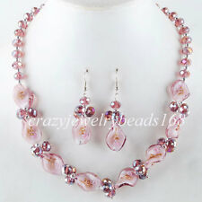 Purple Crystal Faceted Lampwork Glass Beads Necklace Earrings SET M686