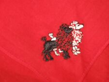 Antique/Vintage Embroidered WHITE BLACK POODLES DOGS RED Hankie Handkerchief