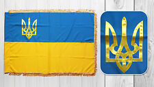 Ukrainian Blue-Yellow National Flag of Ukraine with Tryzub Trident Crepe-Satin