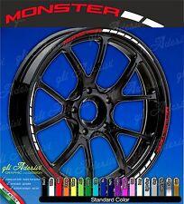 Set Adesivi Cerchi Moto Ruote DUCATI MONSTER 696 796 1100 bicolore