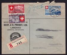 SWITZERLAND 1939 Registered COVER Langnau to South Africa @JD9269