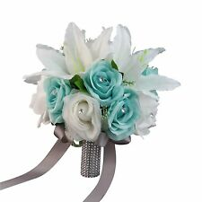"10"" Bouquet-Aqua White with gray bling ribbon Artificial lily and rose."