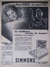 PUBLICITÉ 1956 MATELAS SIMMONS LA MEILLEUR RECETTE DE BEAUTÉ - HUET- ADVERTISING
