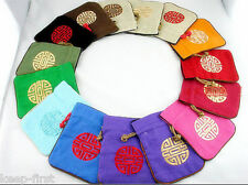 Wholesale New 10pcs Chinese Vintage Embroider Silk jewelry Pouch Coin Purse Bag