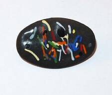 VINTAGE MODERNIST ENAMEL ON COPPER ABSTRACT DESIGN  BROOCH PIN GREAT!