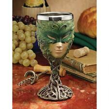Whimsical Lady of the Green Medieval Wine Goblet Greenwoman Gothic Drinkware
