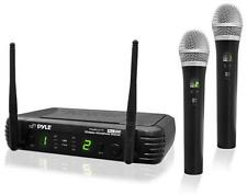 New Pyle PDWM3375 2 Channel UHF Wireless Microphone & 2 Mic Selectable Freq