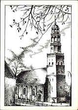 Kirchen Motiv-Postkarte Kirche Westertoren Hindeloopen Hylpen s/w AK ca. 1960