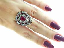925 STERLING SILVER SIZE 7 RUBY RING TURKISH HANDMADE EL SULTAN JEWELRY R2000