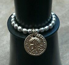 Silver & Gold Coin Disc Beaded Stretch Ring Dangle Charm ~ FREE P&P