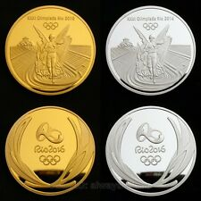 A Set of 2 Brazil Rio 2016 Olympic Gold & Silver Medal Commemorative Coins Token