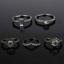 Florid Fashion 5 Pcs Crystal Stack Urban Above Knuckle Top Finger Midi Ring Set