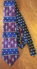 "Vtg 90's Tommy Hilfiger Tie Crest Stars Silk 57"" Long Blue Burgundy Green Gold"