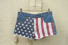 FOREVER 21 Denim Short Shorts American Flag Cone Studs High Rise 26 (Size 3)