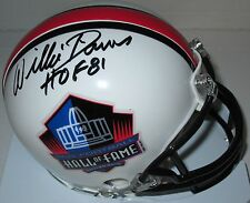 Packers WILLIE DAVIS Signed NFL HOF Mini Helmet AUTO w/ HOF '81