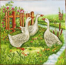 2 single paper napkins decoupage scrapbooking crafts or collection Garden Goose