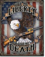 Give Me Liberty or Death Eagle Rifle American Flag TIN SIGN bar wall decor 2185
