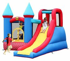 Duplay Red Bricks Kids 10ft x 9ft Turret Bouncy Castle with Large Slide - 9007