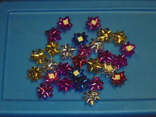 "Mini Christmas Gift Bows Foil Metallic Crafts 1"" Assorted Colors Lot Decor"