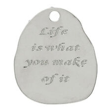 """2 pc Charm Pendant Irregular Silver """"Life Is What You Make Of It"""" 4x3.4cm LC4214"""