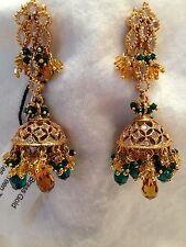 NWT Tejani Chandlier Pierced Earring Gold tone, Yellow&Green Gemstone