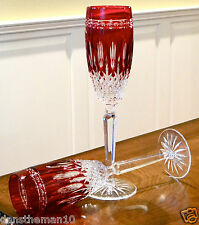WATERFORD CLARENDON RUBY RED CASED CRYSTAL CHAMPAGNE FLUTES GLASSES, PAIR, NEW