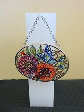 """Amia Stained Glass Suncatcher Small Oval Frilly Floral 42357 4.25"""" x 3.25"""""""