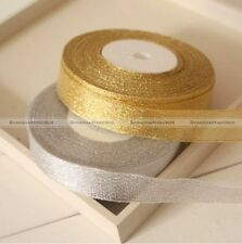 25yds Width 20mm Glitter Gold Silvery Ribbon Christmas Gift Wrapping