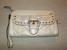 Kathy Small Clutch Beige Zippered Closure  and Outside Snap Closure