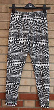 WHITE BLACK TRIBAL VELVET FEEL AZTEC LEGGINGS TROUSERS PANTS 8 10