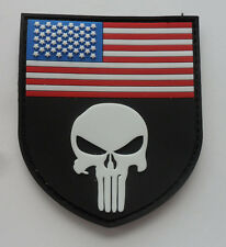 PUNISHER SKULL TACTICAL USA FLAG MILITARY  VELCRO PATCH NEW    SJK   338