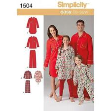 SIMPLICITY SEWING PATTERN CHILD'S TEENS & ADULTS NIGHT SHIRT & PANTS XS-XL 1504