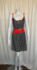 Summer Casual Black Striped Lace Trim Loose Knee Length Dress/Top One Size 12/14
