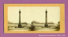 VUE STÉRÉO VIEW : PARIS, LA COLONNE & LA PLACE VENDÔME VERS 1865  -L192