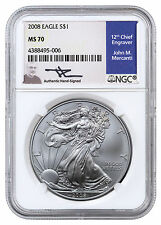 2008 American Silver Eagle NGC MS70 (Mercanti Signed Label) SKU40928