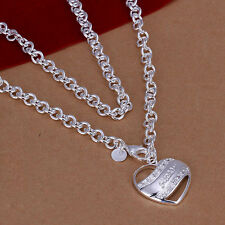 New Women 925 Sterling Silver Plated Fashion Guess Heart Pendant Necklace Chain