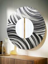 Large Round All Silver Metal Wall Mirror Modern Wall Art Decor by Jon Allen