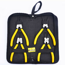 "4pc Professional 7"" Internal External Straight Bent Circlip Snap Ring Pliers Set"