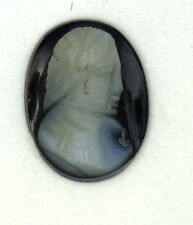 Antique Carved Miniature Oval Jet Onyx Carved Cameo Stone Facing Right  #N617