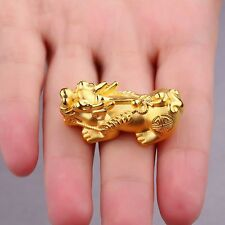 Real 999 24k Yellow Gold Pendant 3D Luck Bless Coin Pixiu Pendant For You 3.5-4g
