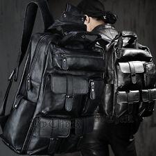 ByTheR Fashion Black Faux Leather Pocket Monster Eco Soft Large Backpack UK