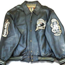 Avirex Leather Varsity Jacket Speed Tigers Twin Dragon 4XL Dark Python Panther