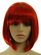 Hot Sell Fashion Red Short Bob Straight Bangs Women's Lady's Hair Wig Wigs + Cap