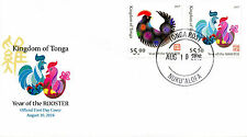 Tonga 2016 FDC Year of Rooster 2017 2v Set Cover Chinese New Year Zodiac Stamps