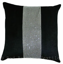 Black & Silver Diamanté Sparkle Bling Velvet Chenille 17 inch Cushion Cover