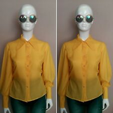 Vintage década de 1970 Grande con Cuello/Puff Manga Amarillo Camisa De Algodón Talla 10/12.