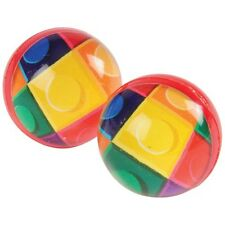 12 Building Block Brick Rubber Bouncy Bounce Ball 35mm Party Bag Favor Supply