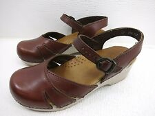 Dansko Solid Brown Leather Slingback Dress Sandals Women's Used Shoes 37 6.5 M